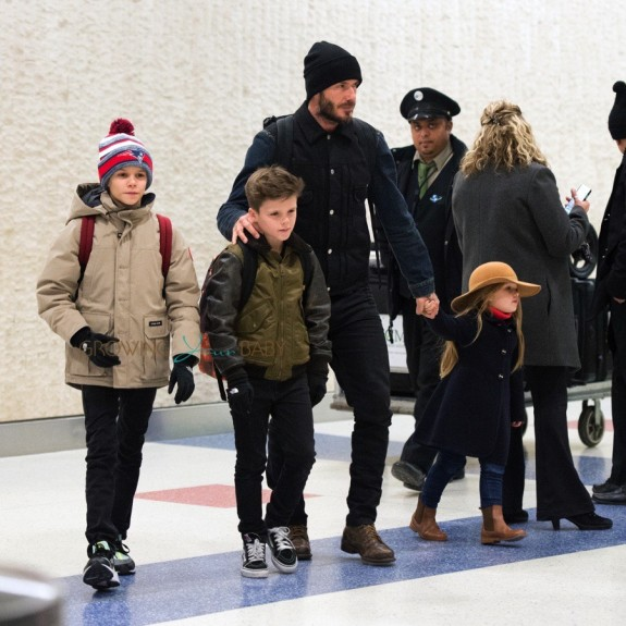 David Beckham at JFK with kids Romeo, Cruz and Harper