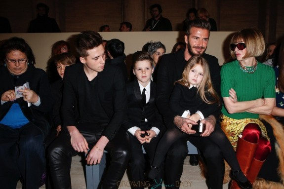 David Beckham at Victoria Beckham fashion show with kids Romeo, Cruz and Harper