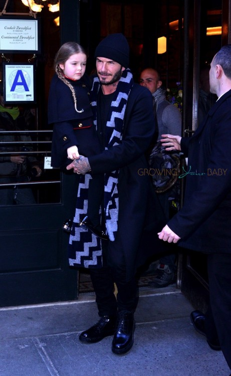 David and Harper Beckham Victoria Beckham leaving Balthazar after lunch in New York City, New York