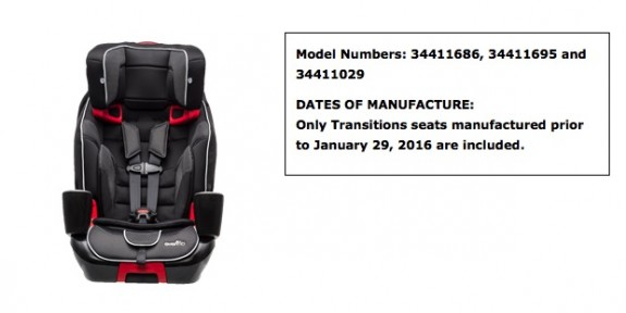 Evenflo Recalls transitions 3-in-1 carseats