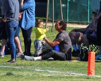 Gavin Rossdale with  Apollo At son Zuma's Soccer Practice in LA