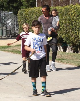 Gavin Rossdale with  Apollo and Kingston At son Zuma's Soccer Practice