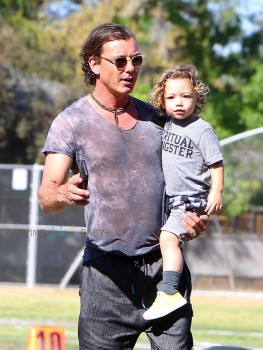 Gavin Rossdale with his son Apollo At Zuma's Soccer Practice