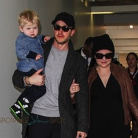 Ginnifer Goodwin & Josh Dallas Depart LAX With Their Son Oliver