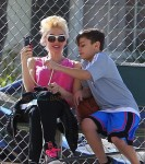 Gwen Stefani and son Kingston at Zuma's Soccer Practice