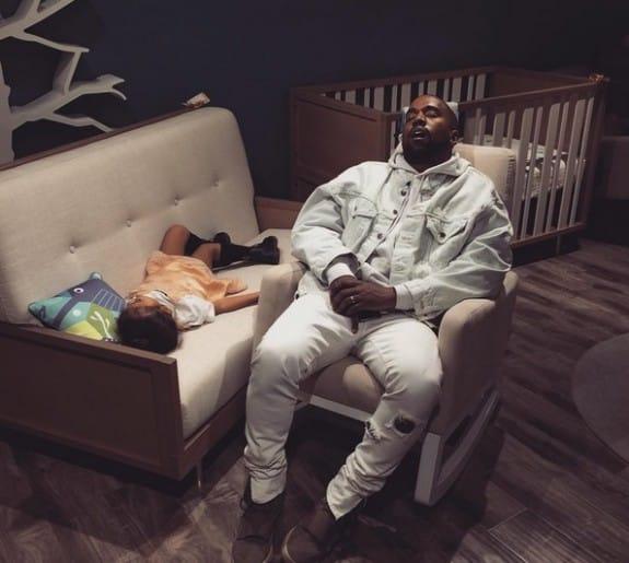 Kanye falls asleep with daughter North at Bel Bambini