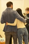 Kourtney Kardashian and Scott Disick hug at Williams Sonoma