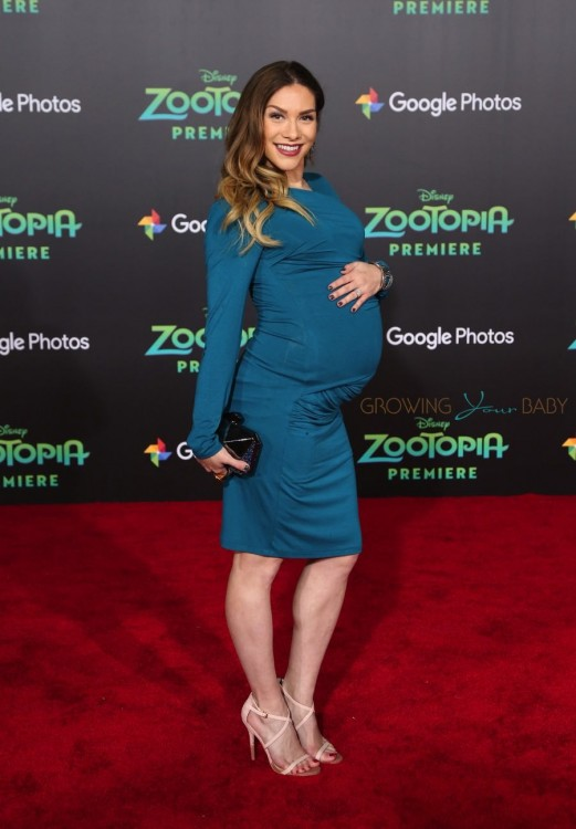 Pregnant Allison Holker walks the red carpet at the Zootopia premiere
