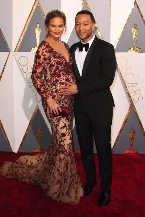 Pregnant Chrissy Teigen and John Legend at the 88th Annual Academy Awards