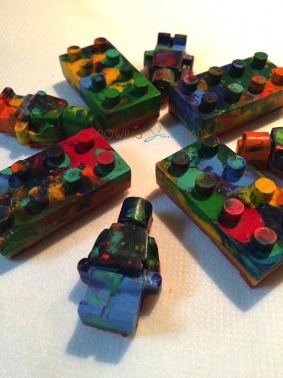 Recycled Crayon craft - LEGO men