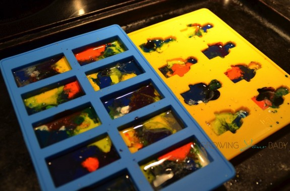 Recycled Crayon craft in the oven