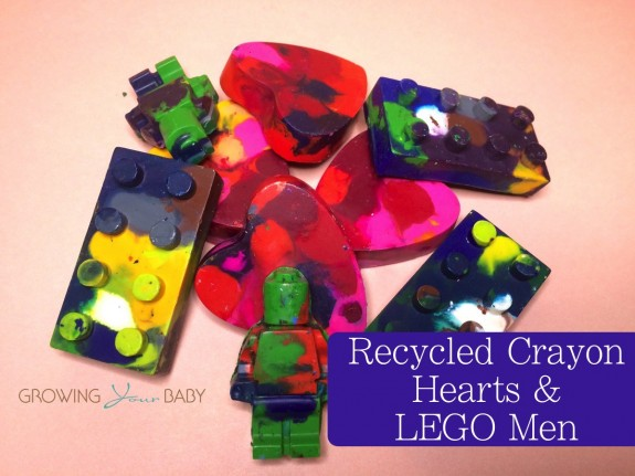 Recycled crayon craft - Lego men, blocks and hearts