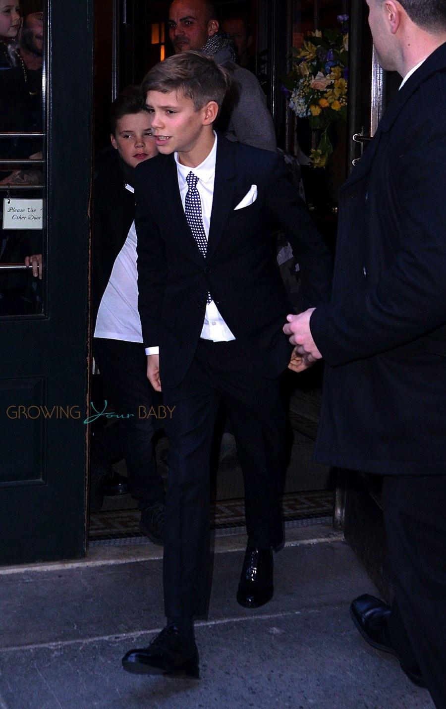 Romeo Beckham Victoria Beckham Leaving Balthazar After