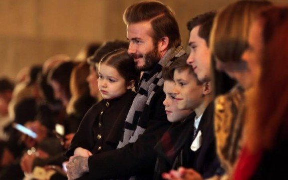 The Beckham family on the front row at Victoria's AW 16 show