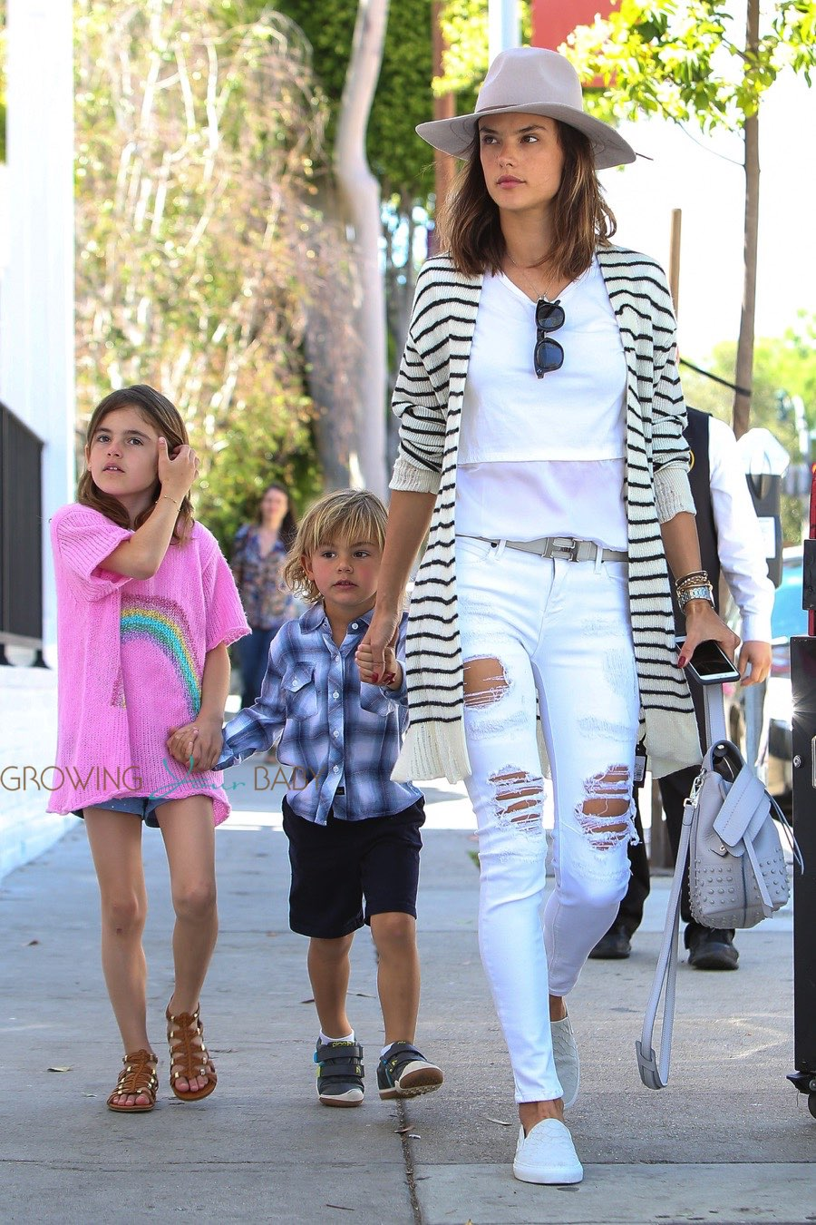 Alessandra Ambrosio out with kids Anja and Noah Mazur for lunch at Au Fudge