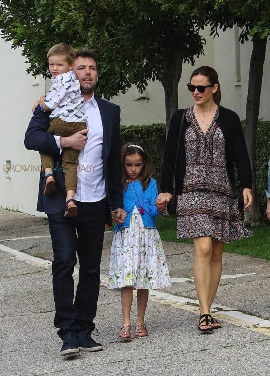 Ben Affleck and Jennifer Garner attend Easter Service with kids Sam & Seraphina