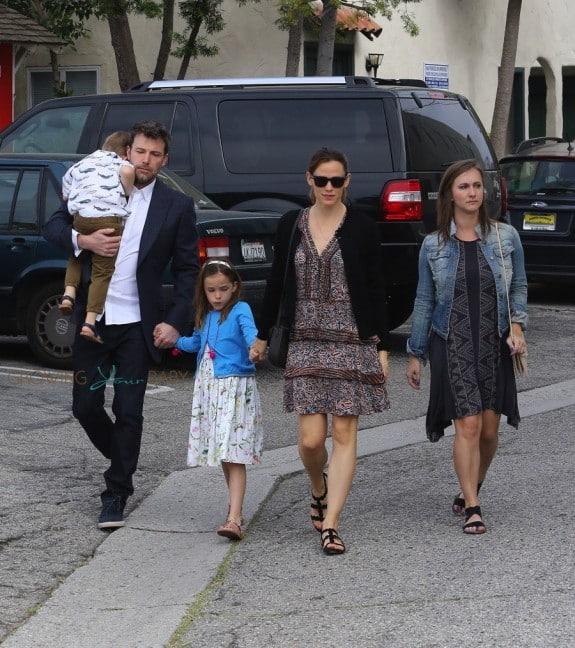 Ben Affleck and Jennifer Garner attend Easter Service with kids Sam and Seraphina