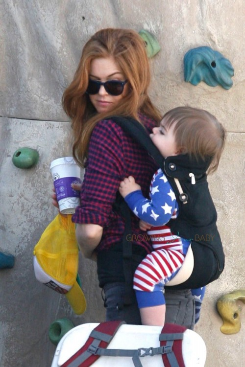 Isla Fisher at the market with son Montgomery Cohen