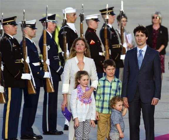 Justin Trudeau and wife Sophie with kids in Washington