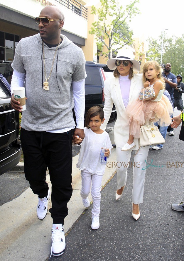 Khloe Kardashian and Lamar Odom attend Easter Sunday with Mason and Penelope Disick
