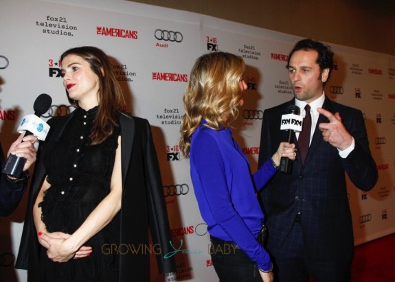 Pregnant Keri Russell and Matthew Rhys walk the red carpet for the premiere of 'The Americans