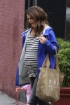 Pregnant Keri Russell out in NYC with her kids