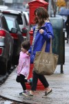 Pregnant Keri Russell steps out with her daughter Willa Dreary