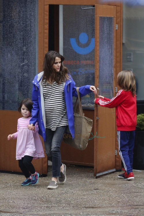 Pregnant Keri Russell steps out with her kids Willa and River Ryder Dreary