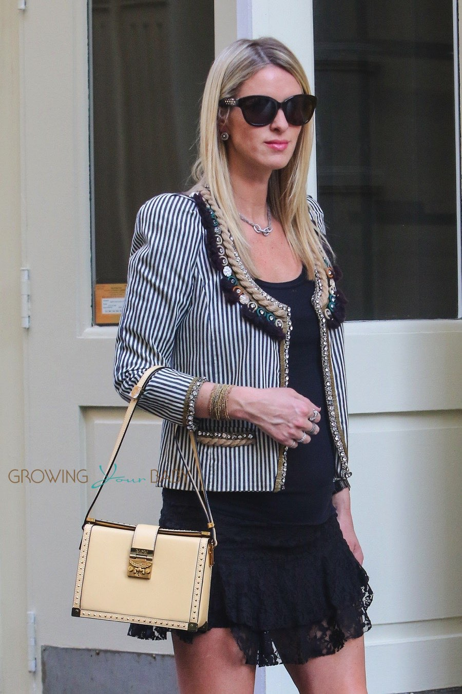 Pregnant Nicky Hilton poses for MCM in NYC