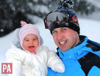 Prince William with Princess Charlotte March 2016