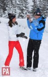 The Duke and Duchess of Cambridge play in the snow
