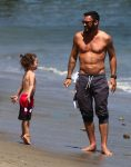 Brian Austin Green with son Noah at the beach in Malibu.