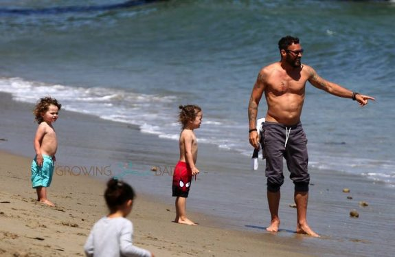 Brian Austin Green with sons Noah and Bodhi at the beach in Malib