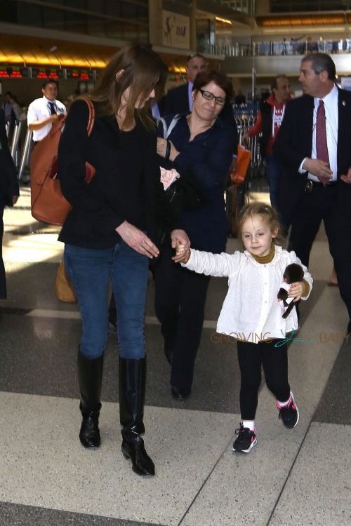 Carla Bruni, Giulia Sarkozy arrive at LAX
