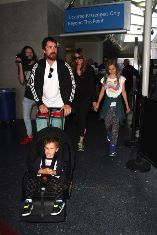 Christian Bale at LAX with son Joseph