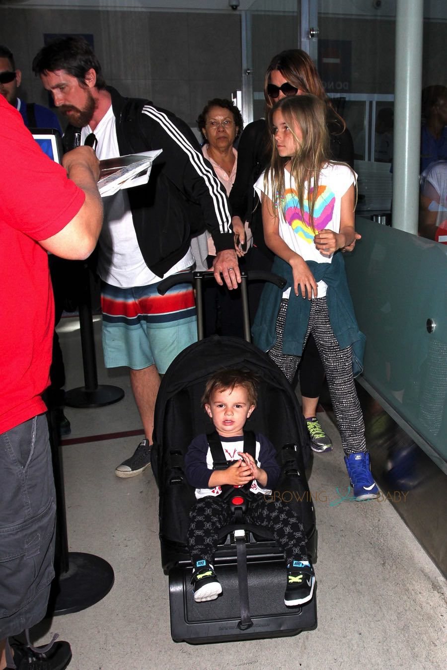 Christian Bale At Lax With Son Joseph His Wife Sibi And