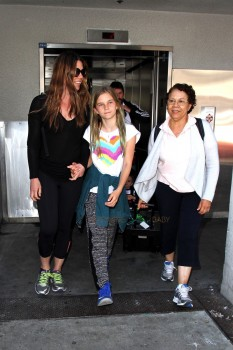 Christian Bale at LAX with son Joseph, his wife Sibi and daughter Emmeline