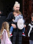 Gwen Stefani leaves church with her kids