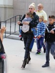 Gwen Stefani leaves church with her kids Kingston, Zuma & Apollo Rossdale