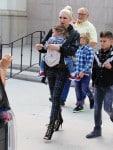 Gwen Stefani leaves church with her kids Kingston, Zuma & Apollo Rossdale