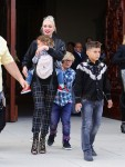 Gwen Stefani leaves church with her kids Kingston, Zuma and Apollo Rossdale