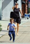 Jennifer Garner leaves church with son Samuel Affleck