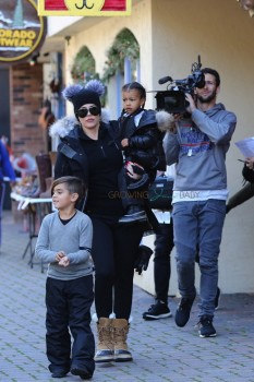 Khloe Kardashian out in Vail Colorado with niece North West and Nephew Mason Disick