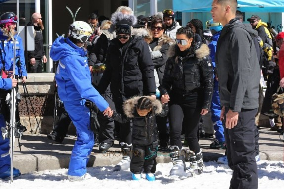 Kim Kardashian hits the slopes in Vail Colorado with sister Khloe and daughter North West