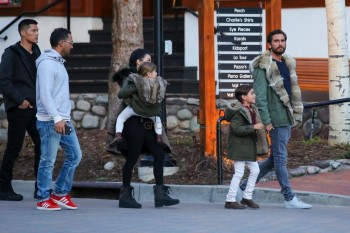 Kourtney Kardashian and Scott Disick shop in Vail Colorado with their kids Penelope and Mason