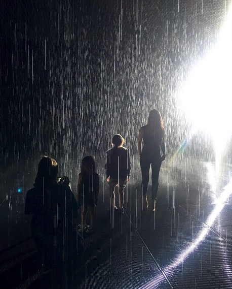 Kourtney Kardashian in the rain room at the LCMA