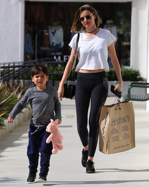 Miranda Kerr Hits The Toys Store With Son Flynn In Malibu