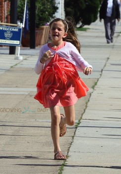 Seraphina Affleck leaves church with her mom and siblings
