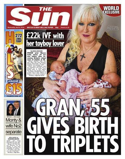 Sharon Cutts on the cover of the Sun with her triplets