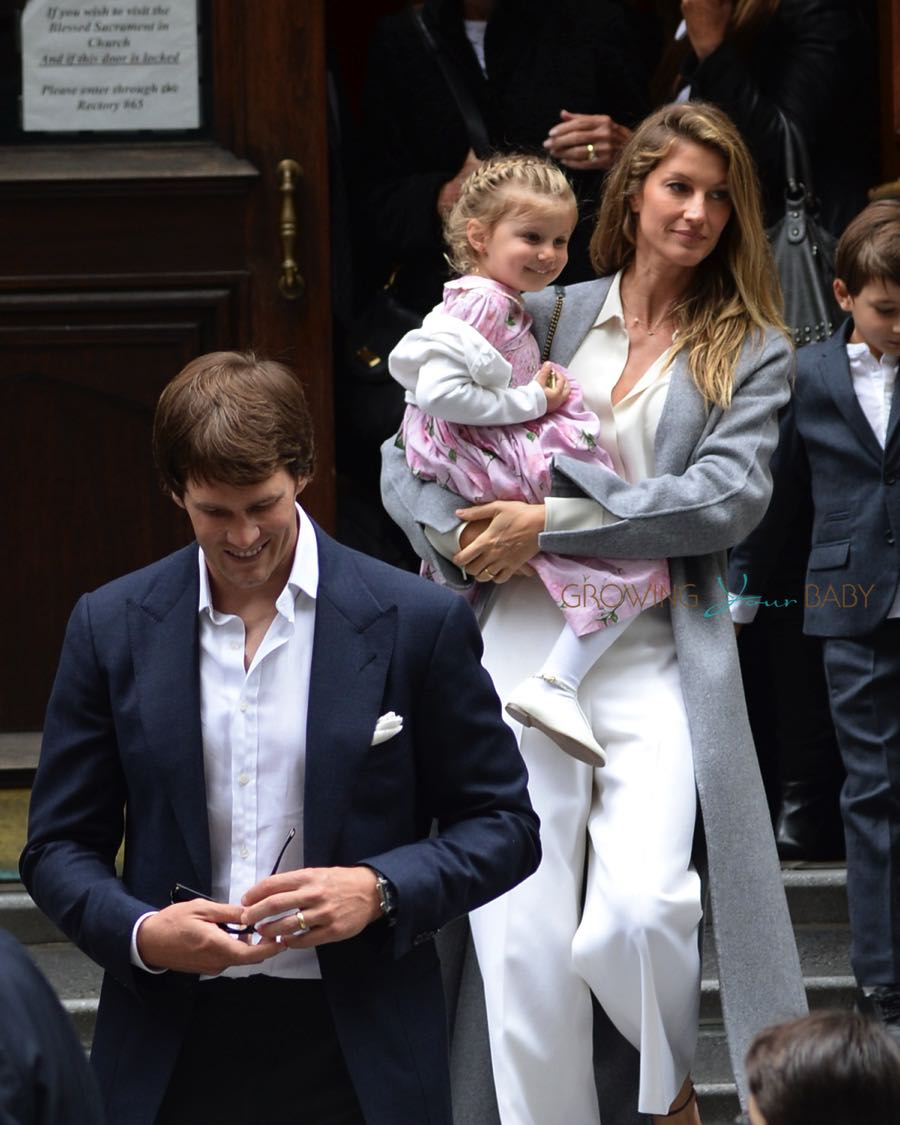 Tom Brady and wife Gisele Bundchen leaving the Church of St. Thomas in NYC with daughter Vivian